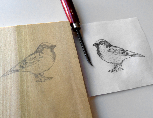 2. Transfer Your Drawing - A mirror image is created.
