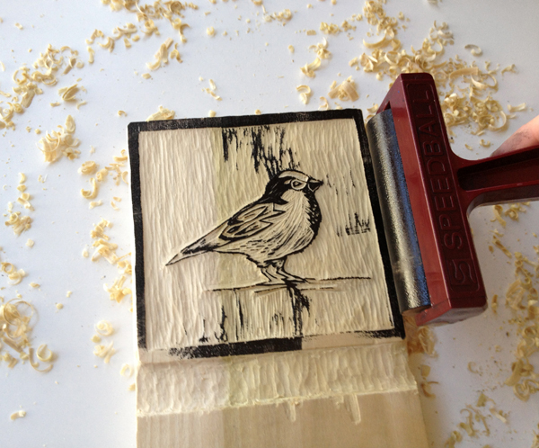 4. Proof Your Block - Step 4 - Roll inked brayer onto your woodblock.