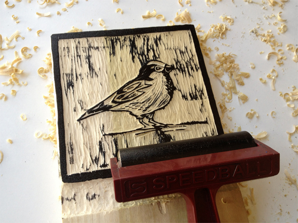 5. Print Your Block - Step 2 - Roll out ink with brayer.