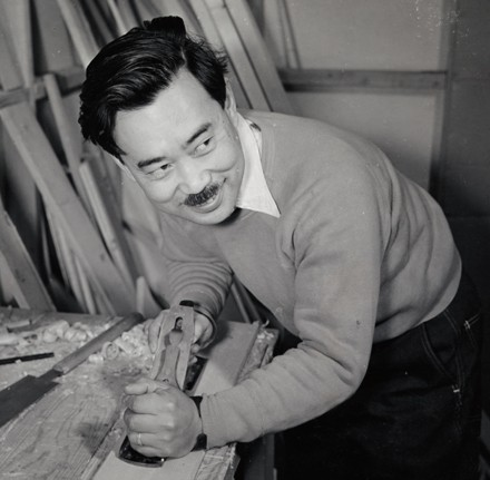 George Nakashima working in his shop