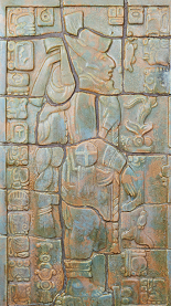 Left mural from Calco Mayan Fireplace