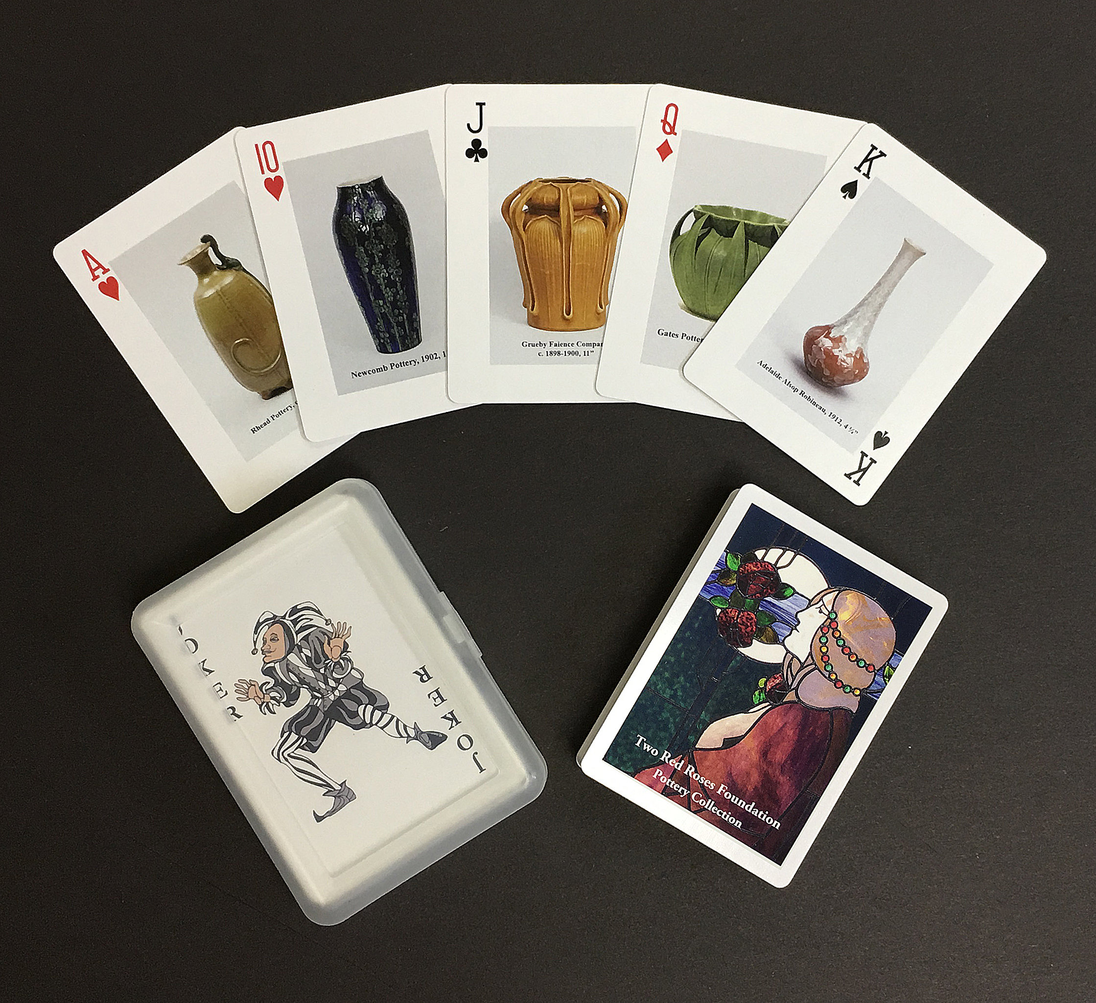 This is the first in the Playing Cards Portfolio featuring rare pottery followed by future decks focusing on furniture, metalwork, lighting, photography, and woodblocks.