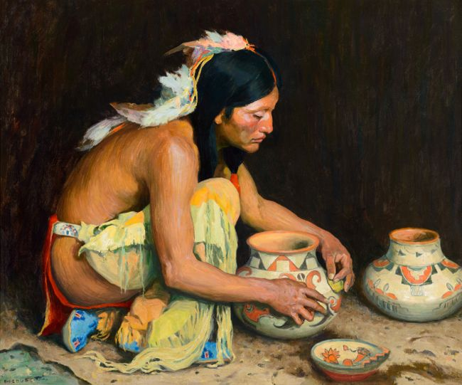&quotThe Pottery Maker&quot - 1923 - Eanger Irving Couse, depicting a Plains Indian, Jerry Mirabal of Taos Pueblo, in Couse's trademark kneeling pose.