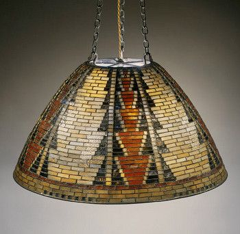 Louis C. Tiffany lamp shade designed to compliment the large Lockwood de Forest's collection of Native American art, baskets, and Pueblo Indian pottery.