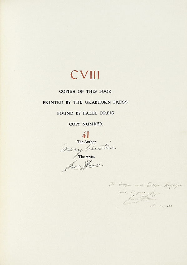 Ansel Adams' Taos Pueblo - Colophon page signed by both Ansel Adams and Mary Austin