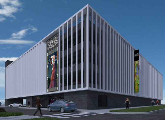 Rendering of the southeast corner of the parking garage. Special LED lights, strategically placed along the bottom of soaring vertical fins, produce dramatic and programmable visual effects at night by enveloping the garage in a rainbow of vibrant colors making the garage a visible landmark in the city of St. Petersburg.