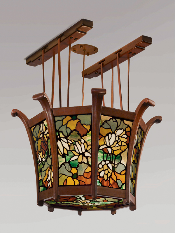 Greene & Greene, Lotus Lantern from the Robert R. Blacker house, Pasadena, California, c. 1907, various hardwoods, leaded opalescent and iridized cathedral glass. Two Red Roses Foundation collection.