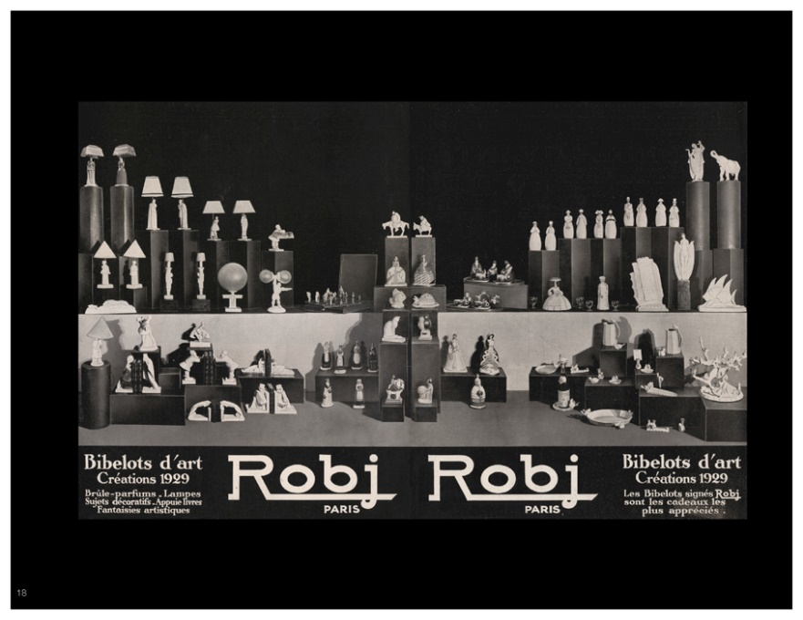 Advertisement of a selection of Art Deco ceramics from Robj.