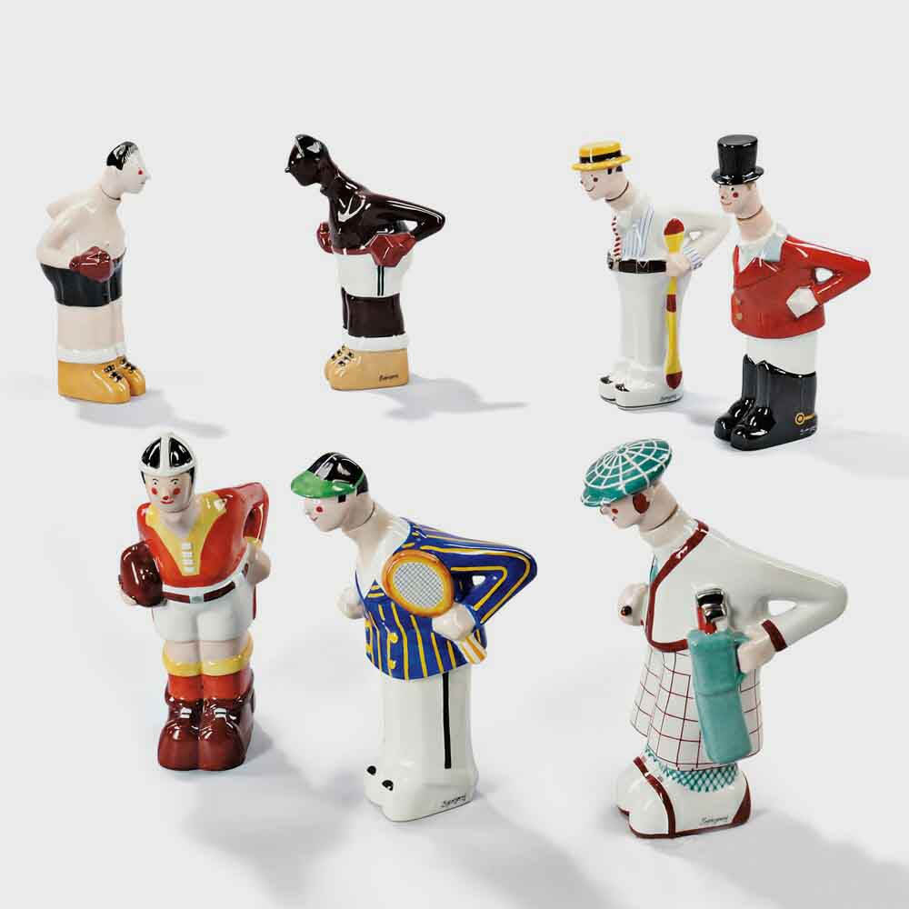 Seven Sportsmen Ceramic Decanters, Glazed Ceramic, France, 20th Century, A very rare set of anthropomorphic containers representing sports figures: tennis player, rugger, huntsman in his